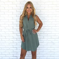 Easy Does It Shift Dress In Sage