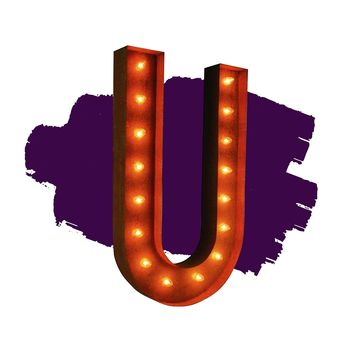 "36"" Letter U Lighted Vintage Marquee Letters (Rustic)"