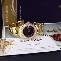 ROLEX 29mm 18kt Gold PearlMaster Masterpiece Black ROMAN Diamond SANT BLANC