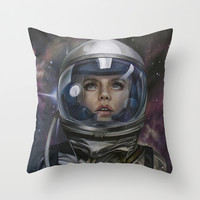 Astro Girl Throw Pillow by Bokkei