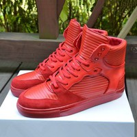Indie Designs Pleated Leather High Top Sneakers