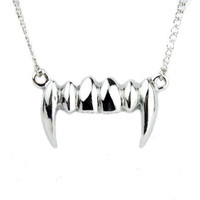 Vampire Fang Necklace Bite Me Halloween Pendant Jewelry