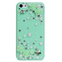 """Fosmon GEM 3D Rose, Pearl & Crystals Hard """"Bling"""" Design Case for the Apple iPhone 5C (2013) Retail Packaging - Baby Blue"""