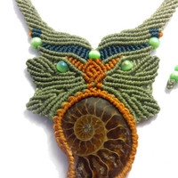Macrame necklace cavandoli style with ammonite fossil and mexican opal beads