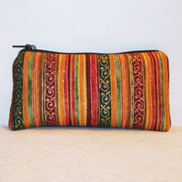 """Autumn Sparkle Stripes Cotton Padded Pipe Pouch 5.5"""" / Glass Pipe Case / Spoon Cozy / Piece Protector / Pipe Bag / SMALL"""