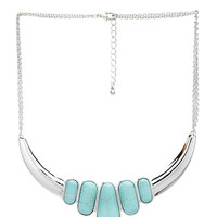 FOREVER 21 Earth Stone Crescent Necklace Silver/Turquoise One