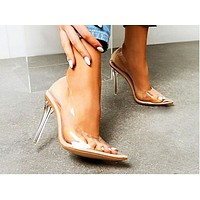 Fashion lady transparent single shoe pointed, shallow, slim and high heel Size 42 long-term spot