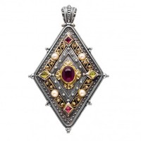 Gerochristo 3108 ~ Solid Gold, Silver & Stones Medieval Byzantine Large Pendant