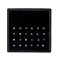 24 pcs/pack Stainless Steel Crystal Nose Studs Hyperbole Square Rhinestone Straight Bar Pin Nose Rings Body Piercing Jewelry