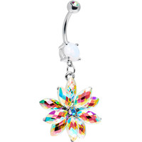 Stainless Steel Aurora Borealis Crystal Belly Ring | Body Candy Body Jewelry