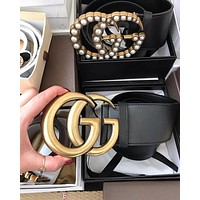 GUCCI Fashion Women Men Simple Pearl Double G Smooth Buckle Leather Belt I/A