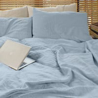 Linen Duvet Cover Icy Blue