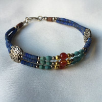Lovely Combo, Tribal Bracelet Lapiz Lazuli, Tibetan Turqouise, Red Coral,Gemstones With Silver plated beads
