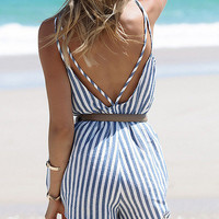 Spaghetti Strap Vertical Striped Romper