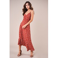 Polka Dot Ruched Slip Dress