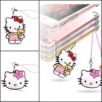 Free Shipping 1PCS Lovely Hello Kitty 2D PVC Mobile Phone Hanging Strap Pendant Ornament with Hanging Strap Bags Accessories