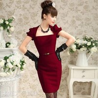 Woolen dress tight dress temperament Wang