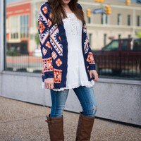 Aztec Plains Cardigan, Navy/Orange