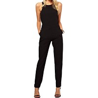 New   Jumpsuits Suits Behind Hollow Out a Button Jumpsuit Invisible Zipper Long Pants Romper Black S