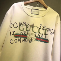 GUCCI HOT SALE Letter Round neck letters printed long sleeve sweater-Rice white