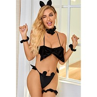 Layla 2 Piece Velvet Bunny Girl Style Sexy Lingerie Set Accessories included