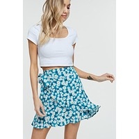 Chloe Floral Wrap Skirt (Turquoise)