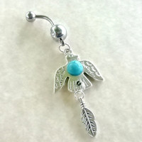 """Sale......Thunderbird Native American 14 gauge stainless steel belly navel ring, body jewelry, 2.5"""" long"""