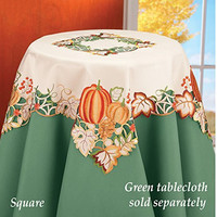 Pumpkins Fall Harvest Beautiful Colorful Embroidery Table Square