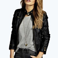 Doris Zip Through Leather Look Biker Jacket