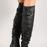 Lace Up Buckled Back Collar Slouchy Over-The-Knee Boot