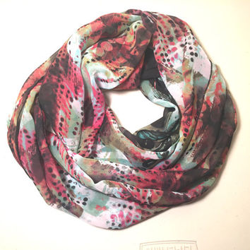 Spring, Summer Lightweight Infinity Scarf, Loop Scarf, Circle Scarf, Single Loop, Double Loop - Abstract Print Scarf