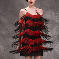 Womens 1920s Flapper Fringe Gatsby Dress Cocktail Ball Dance Dress Strap Sexy Party Dresses 5 layers Tassel Stage Singer Bodycon
