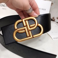 Balenciaga men and women couples same style BB lock classic retro belt