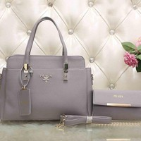 PRADA Trending Ladies Leather Satchel Tote Handbag Shoulder Bag Crossbody Set Two-Piece Grey I