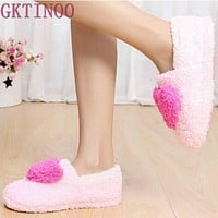 Women Plush Heart Soft And Cozy House Slippers