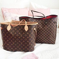 Tiktoki1 Louis Vuitton LV Fashion Women Shopping Leather Tote Handbag Shoulder Bag Purse Wallet Set Two-Piece