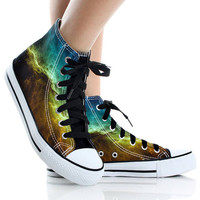 Newest Galaxy , Design Yellow and Blue Galaxy,High Top,canvas shoes,Painted Shoes,Special Christmas Gift,Birthday gift,Men Shoes,Women Shoes
