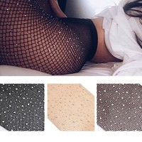 Crystal Diamond Fishnet Tights Women Body Stocking Pantyhose