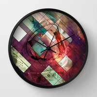 Space stained glass Wall Clock by Tony Vazquez