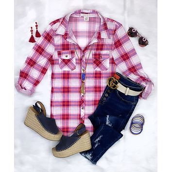 Penny Plaid Flannel Top - Blue & Pinks
