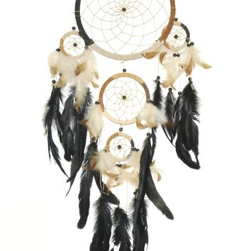 Dreamcatcher with Multi Earthtone Colors, Beads & Feathers, 30-inch