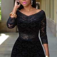 Black Three Quarter Sleeves V-Neck Lace Overlay Romper