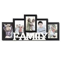 "Decorative Black and White Wood ""Family"" Wall Hanging Picture Photo Frame"