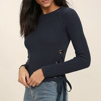 Good-Natured Washed Navy Blue Lace-Up Sweater