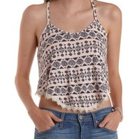 Pale Peach Cmb Tribal Print Trapeze Tank Top by Charlotte Russe