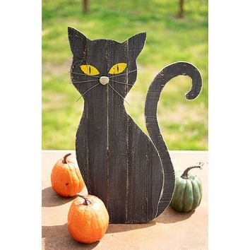Painted Wooden Black Cat With Stand