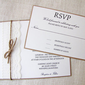 Shabby chic Lace and Twine Wedding Invitation Sample Listing