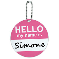 Simone Hello My Name Is Round ID Card Luggage Tag