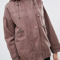 ASOS Washed Cotton Shacket with Fleece Hood at asos.com