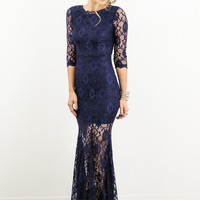 True One Navy Lace Half Sleeve Maxi Dress